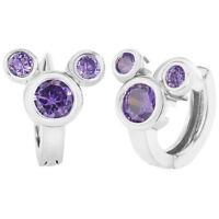 Rhodium Plated Mouse Purple Crystal Huggie Small Hoop Earrings Girls Teens 8mm