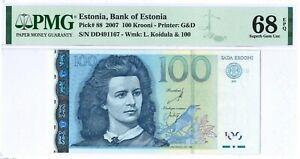 Estonia 100 Krooni P88 2007 PMG 68 EPQ s/n DD491167