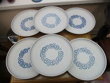 Denby Rams Head Authentic  English Stoneware Blue Dinner  Plates x 6