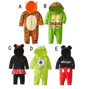 Baby Boy Girl Long Sleeve Hoodie Zipper Babygrow Fancy Dress Costume Outfit Set