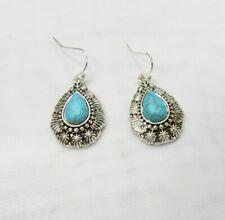 Silver Plated Native American Turquoise Stone Teardrop Dangle Drop Earrings NEW