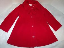 The Children's Place Red Fleece Ruffled Coat Satin Lining XS 4