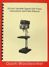 "JET/Asian JDP-20VS 20"" Variable Speed Drill Press Operator's & Parts Manual 0392"