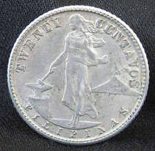 1945-D 75% Silver Philippines 20 Centavos - USA ASIAN ROUND WWII BULLION COIN
