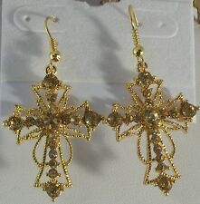 "2"" Crystal Cross Gold Plated Pierced Earrings Comes in 9 Colors"