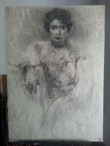 "Original charcoal on paper ""A model"" Vladimir Filipenko"