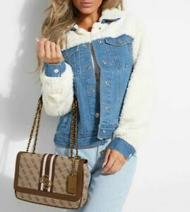 BNWT GUESS 2way Convertible Shoulder Bag Handbag Tote Satchel Logo Canvas Brown