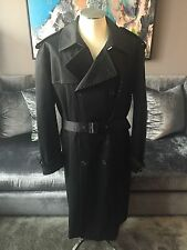 Mens Louis Vuitton Black Belted Trench Coat w Wool Removable Liner Sz 58 48