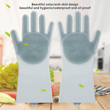 2Pair Magic Silicone Brush Dish Washing Gloves for Kitchen Pet Scrubber Cleaning