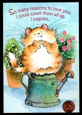 MAGNIFICATS By Margaret Sherry Cat Kitten Flowers  Birthday Greeting Card - NEW