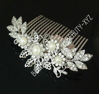 beautiful elegant wedding bridal hair comb Ivory Color pearl and crystal #1125