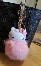 Hello Kitty Pom Pom Keychain Pink Backpack Key ring Purse Charm Pompom Kawaii