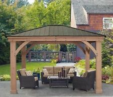 Yardistry Cedar Wood 12x14 Gazebo With Aluminum Roof, NEW SHIPS FROM FACTORY