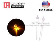 100pcs 2mm LED Diodes Water Clear Yellow Light Round Top Transparent USA