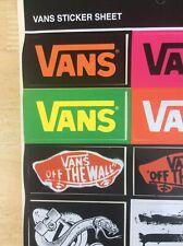 VANS Genuine vINYL Sheet Of Stickers- 16 Individual Pieces- Snowboard/ Skaters