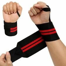 Power Weight Lifting Wrist Wraps Supports Gym Training Fist Straps BLACK 13""