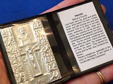 STATIONS OF THE CROSS Silver Metal Saint Plaque Folder Pocket Catholic SHRINE