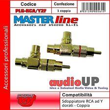 Coppia Sdoppiatori ad Y rigido 2 Femmine 1 Maschio. Plug RCA dorato - Masterline