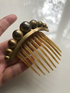 ANTIQUE EARLY VICTORIAN NATURAL HORN PINCHBECK COMB TIARA