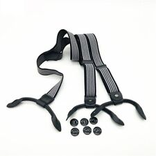Classic Suspenders Strap Leather Buttons Fashionable Decoration Clip With Gasket