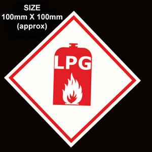LPG WARNING GAS STICKER CARAVAN MOTORHOME  CAR 100 x 100mm VINYL DECAL STICKERS