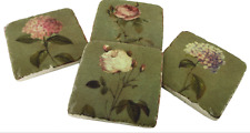SET OF 4 FRENCH  SHABBY CHIC VINTAGE  ANTIQUE STYLE PATTERNED CERAMIC COASTERS