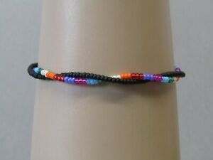 Twisty's Rainbow & Black Stacker Freindship Fashion Bracelet or Anklet.Handmade