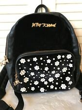 EXC! BETSEY JOHNSON Backpack Black Velvet Faux Leather Pearl Flowers