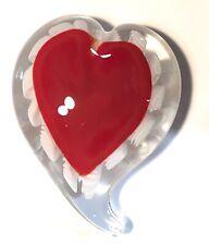 """New Art Glass Jumbo Red Heart Paperweight 6"""""""