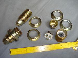 1 douille E14 en acier laitonné et porcelaine avec 2 bagues (réf A) pas de 10 mm