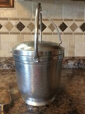 Vintage Mid-Century Ice Bucket Hammered Aluminum Made in Italy by Nasco