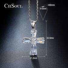 White Gold Plated Crystal Cubic Zirconia Cross Shape Necklace Pendant Jewelry