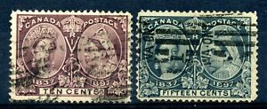 Weeda Canada 57-58 F used 10c brown violet & 15c steel blue Jubilees CV $180