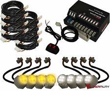 160W 8 LED Bulbs Hide White Amber Emergency Hazard Warning Strobe Light Kit