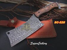 12 Inches Hand forged Damascus steel Cleaver Walnut Handle,fixed blade Chopper