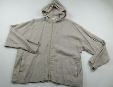 Chicos Design Womens Linen Long Sleeve Full Zip Beige Hooded Blouse Shirt Size 3