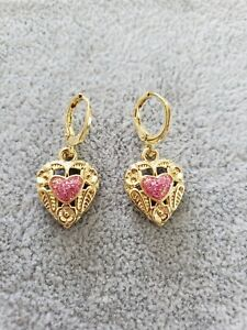 Perfect Yellow Gold Plated Pink Heart Flower Design Dangle Earrings