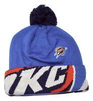 Oklahoma City Thunder OKC adidas KU80Z NBA Basketball Logo Pom Knit Hat Beanie