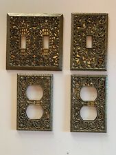 Vintage Mid Century Hollywood Regency Switchplate Cover Filligree Antique Brass