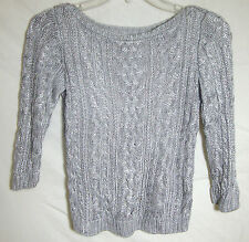 Ralph Lauren Sparkle Sweater Knit Pullover Silver Threads Party Girl Medium