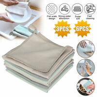 3/6PCS Super Absorbent Microfiber Kitchen Dishcloth Cleaning Towel Household Set