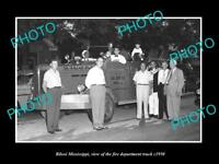 OLD LARGE HISTORIC PHOTO OF BILOXI MISSISSIPPI, THE FIRE DEPARTMENT TRUCK c1950