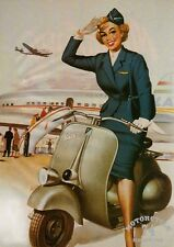POSTER SEXY PIN UP on VESPA SCOOTER - cm. 30x41 poster repro PIN UP on VESPA