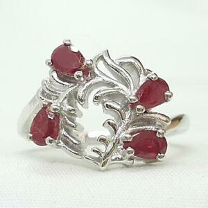 Genuine 1.20ctw Pear Cut Mozambique Ruby 925 Sterling Silver Ring Size 7.25