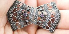 Vintage Deco Sterling Silver Marcasite/Amethyst Gorgeous Bow Brooch/Pin - Rare