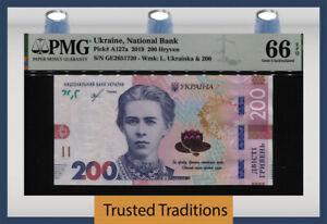 TT PK A127a 2019 UKRAINE NATIONAL BANK 200 HRYVEN PMG 66 EPQ STUNNING MODERN!