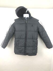 Air Jordan Nike Boys Large Zip Up Puffer Jacket Gray