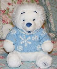 "25"" Disney Store Exclusive Christmas White Winnie Pooh Bear Blue Winter Sweater"