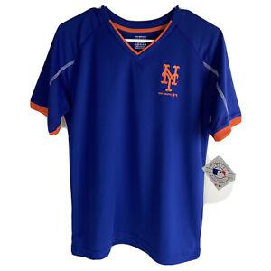 MLB New York Mets V Neck Performance TShirt Boys Youth Size XL 16/18 Blue