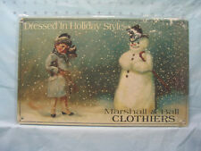 Vintage Look New Christmas Snowman Metal Sign 3-D Snow Holiday Style